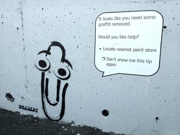 Scampi paperclip it looks like you need some graffiti removed
